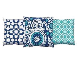 Set de 3 cojines de algodón, azul, blanco y turquesa I - 43x43