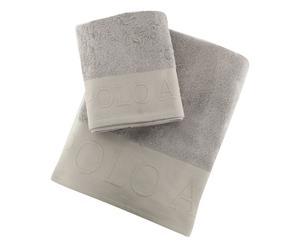 Set de toalla de lavabo y toalla de ducha Plattsburg - gris