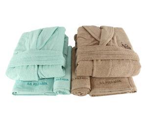 Set de 2 albornoces hombre/mujer, 2 toallas de aseo y 2 toallas de lavabo Henderson I