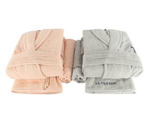 Set de 2 albornoces hombre/mujer, 2 toallas de aseo y 2 toallas de lavabo Henderson III