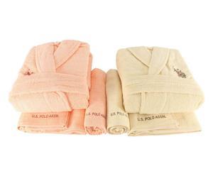 Set de 2 albornoces hombre/mujer, 2 toallas de aseo y 2 toallas de lavabo Henderson IV