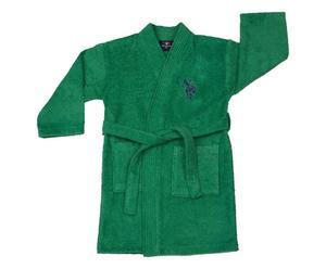 Albornoz de niños en algodón USPA, verde - 7/8 años