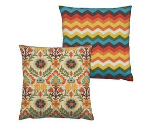 Set de 2 cojines de algodón, multicolor – 43x43