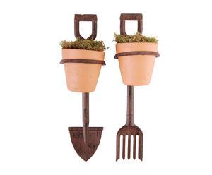 Set de 2 soportes para macetas en hierro y terracota