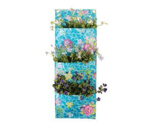 Bolsa de lona de pared con 3 espacios para plantar - turquesa