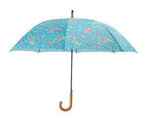Paraguas con mango de madera - turquesa