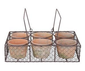 Set de 6 macetas de terracota con soporte de metal