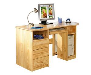 Escritorio de madera maciza con 3 cajones