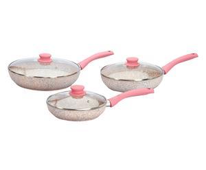 Set de 3 sartenes con tapa en aluminio revestido de granito cuarzo – rosa