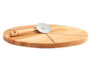 Tabla en madera de haya para cortar pizzas con rueda de corte