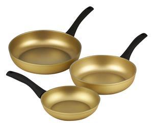 Set de 3 sartenes en aluminio con revestimiento antiadherente Stonegold – negro
