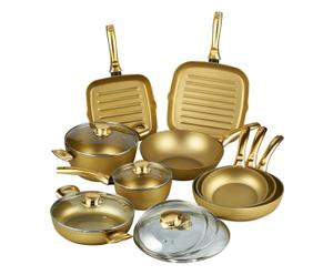 Batería de 12 piezas de aluminio con revestimiento antiadherente Stonegold – oro