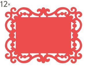 Set de 12 manteles individuales en PVC Barroco, rojo - 44x32