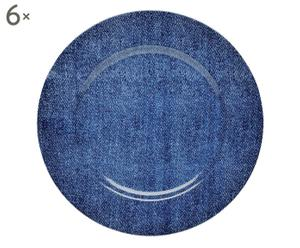 Set de 6 platos de porcelana Jeans