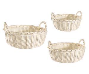 Set de 3 cestas de mimbre – crema II