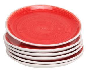 Set de 6 platos de postre en cerámica Pennellato, rojo - Ø21