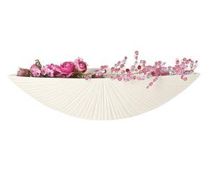 Centro de mesa de porcelana a rayas Rigata – blanco