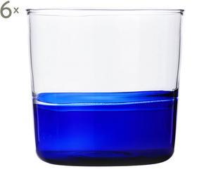 Set de 6 vasos de agua en vidrio borosilicato – transparente y azul