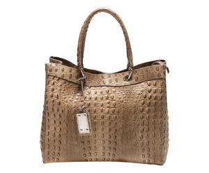 Maxi bolso de piel efecto cocodrilo – marrón claro