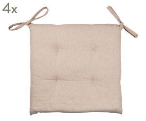 Set de 4 cojines de algodón Corazón - crema y gris