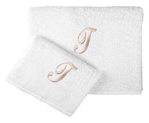 Set de toalla de aseo y de lavabo en algodón 100% T – blanco y beige