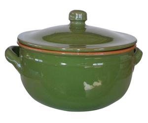 Olla de barro con tapa, verde jade - ø18 cm