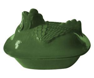 Cazuela de terracota para asado, verde jade - 40x25x25 cm