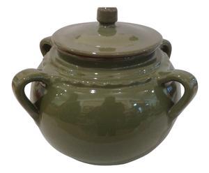Olla de terracota para legumbres con tapa, verde jade - ø20 cm