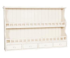 Escurreplatos de madera con 4 cajones – blanco