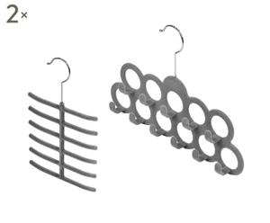 Set de 4 perchas para accesorios y corbatas en terciopelo Desire - gris