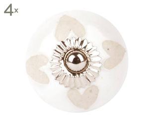 Set de 4 tiradores de cerámica Heart, blanco – Ø4