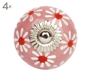 Set de 4 tiradores de cerámica Flower - rosa