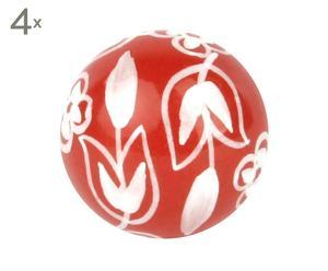 Set de 4 tiradores de cerámica Floriane - rojo