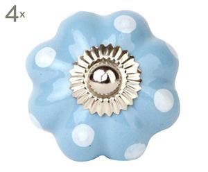 Set de 4 tiradores de cerámica con forma de flor Pois – azul