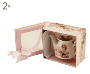 Set de 2 teteras en cerámica con caja de cartón para regalo