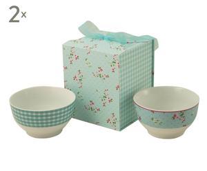 Set de 2 cuencos de cerámica con caja de cartón para regalo - verde
