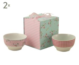 Set de 2 cuencos de cerámica con caja de cartón para regalo  - rosa