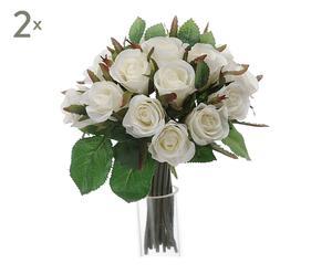 Set de 2 bouquets decorativos de rosas blancas Charlize – Ø21