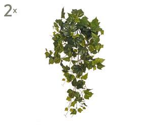 Set de 2 ramas colgantes con hiedra artificial - verde