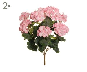 Set de 2 ramas con geranios artificiales – rosa claro