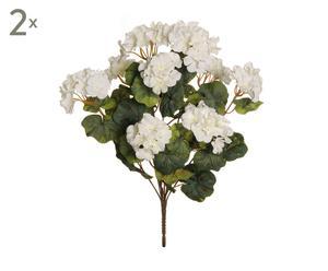 Set de 2 ramos de geranios artificiales - blancos