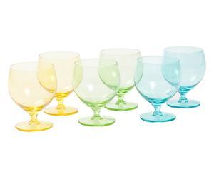 Set de 6 copas de agua de vidrio Happy - verde, azul y amarillo