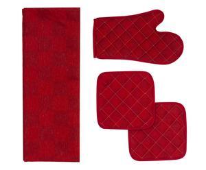 Set de paño de cocina, manopla y 2 agarraderas de algodón - rojo