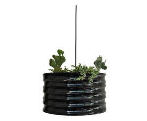 Lámpara de techo en hierro con portaplantas – negro