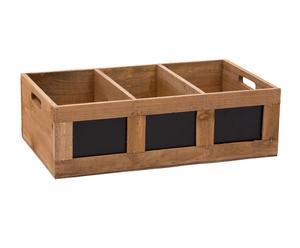 Organizador con 3 compartimentos de madera con pizarra