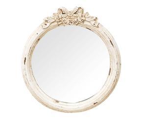 Espejo de pared en madera y resina, blanco decapado – 45x52