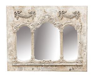 Espejo de pared en madera y resina, gris claro envejecido – 50x40