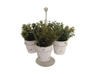 Set de 4 macetas de terracota con plantas artificiales y soporte de metal