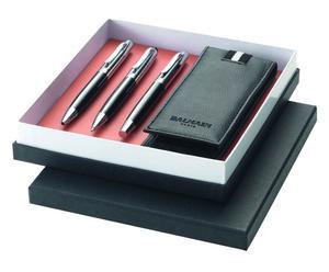 Caja regalo con 2 bolígrafos, un lápiz portaminas y estuche - negro