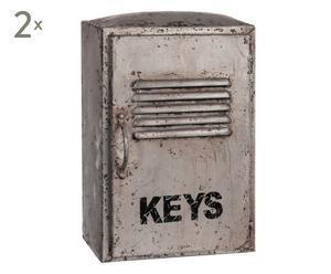 Set de 2 armarios portallaves en hierro Keys - 22x16x34 cm